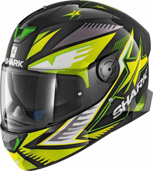 Shark Skwal 2 LED Draghal Full Face Helmet KGY - Black / Green / Yellow