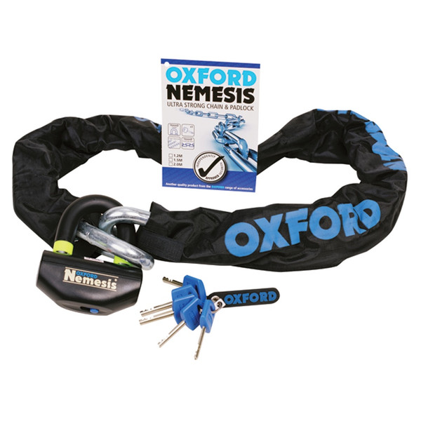 Oxford Nemesis 16mm Chain and Padlock 1.5m