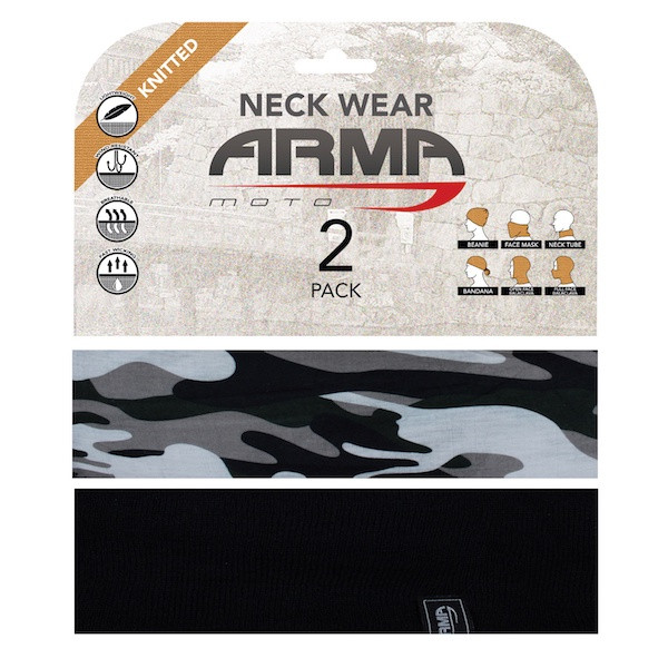 Armr Summer Face Mask Neck Tube - 2 Pack Black + Camo