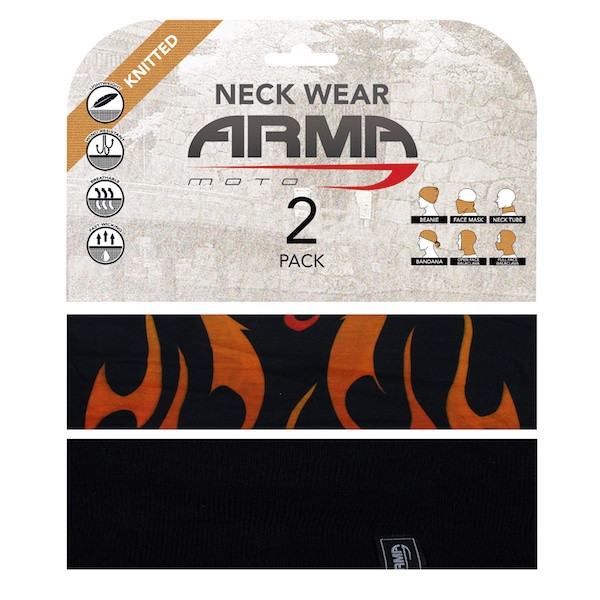 Armr Summer Face Mask Neck Tube - 2 Pack Black + Flame