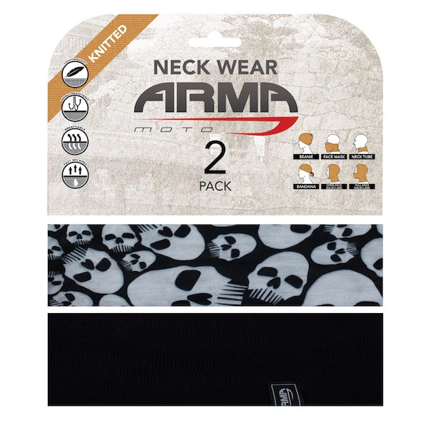 Armr Summer Face Mask Neck Tube - 2 Pack Black + Skull