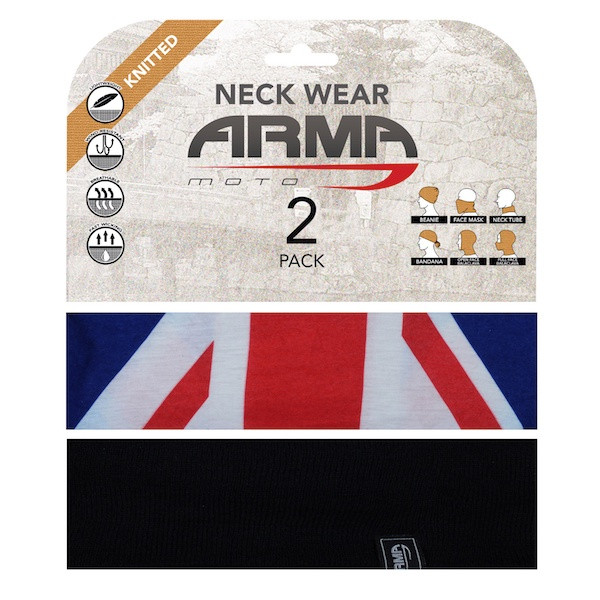 Armr Summer Face Mask Neck Tube - 2 Pack Black + Union Jack