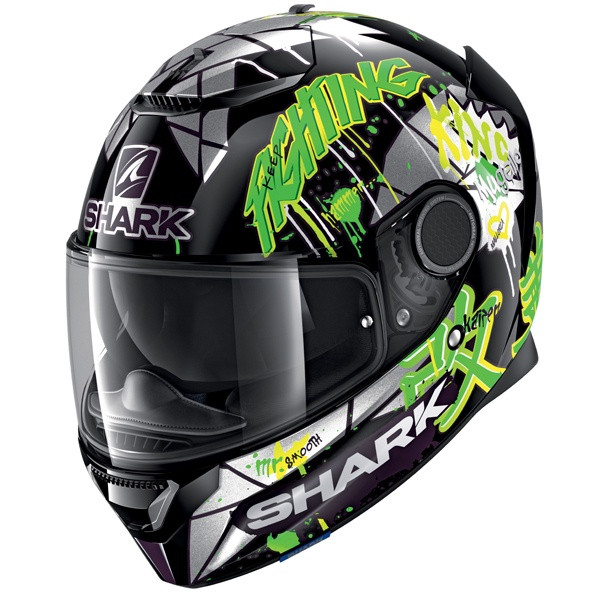 Shark Spartan 1.2 Lorenzo Cat GP KGX - Green / Silver / Black