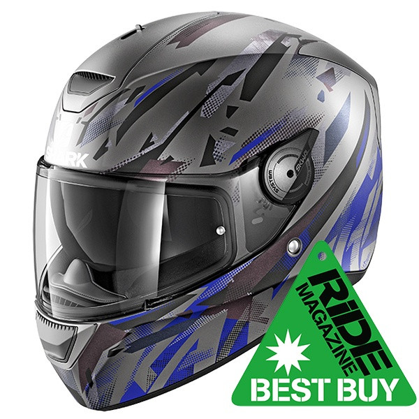 Shark D-Skwal Kanhji Full Face Helmet Mat ABK - Anthracite / Blue / Black