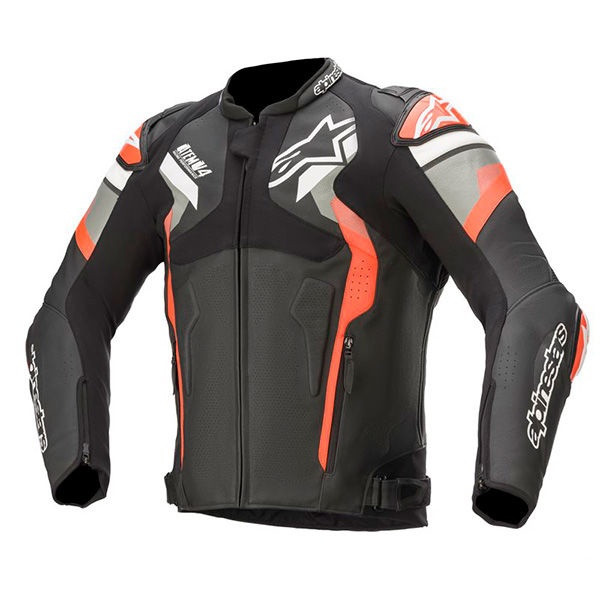 Alpinestars Atem V4 Leather Jacket - Black / Grey / Red Fluo