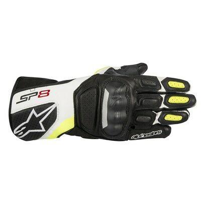 Alpinestars SP8 V2 Leather Gloves - Black / White / Yellow Fluo