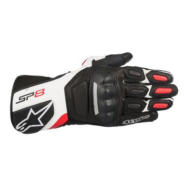 Alpinestars SP8 V2 Leather Gloves - Black / White / Red