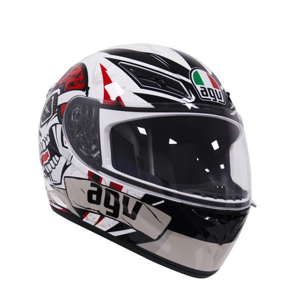 AGV K3 Rider To The Bone Helmet - Black / White / Red