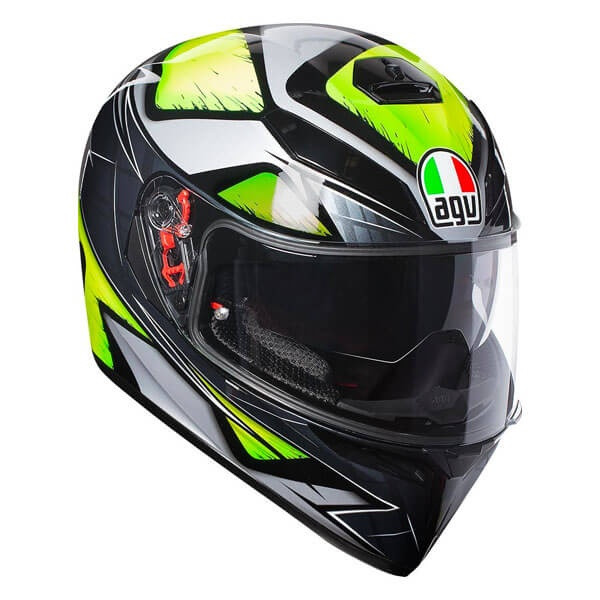 AGV K3 SV Liquefy Full Face Helmet - Grey / Flo Yellow