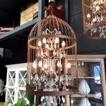 Vintage Birdcage Industrial Chandelier Large