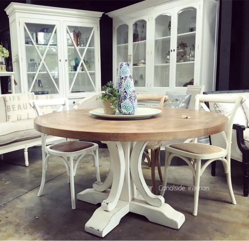 Artisan Parquetry Top Round Dining Table Natural With Distressed