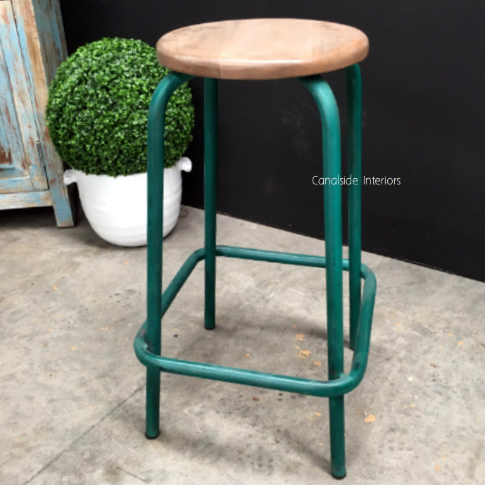 Axis Industrial Bar Stool Distressed Green Sold Out