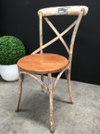 Metal Cross Back Chair with wooden seat