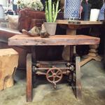 Crank Adjustable Industrial Coffee Table