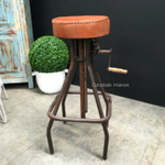 Cruz Adjustable Industrial Stool with Leather Stool