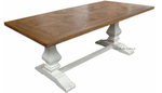 Artisan Parquetry Top Dining Table with distressed white base
