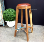 Bjorn Rustic Stool with Leather