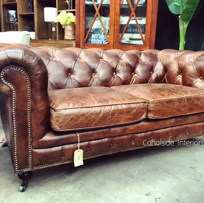 Lincoln Aged Leather Chesterfield 2 Seater Canalside Interiors