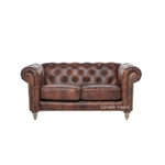Pasadena Chesterfield 2-Seater Aged Leather Sofa