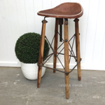 Hendricks Aged Leather Bar Stool