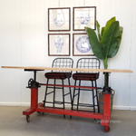 Burst Red Adjustable Bar Table