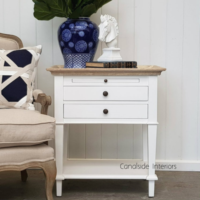 Butler Side Table / Bedside   White With Limewash Top   IN STOCK