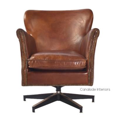 Irvine Swivel Aged Leather Armchair