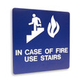 "8"" x 8"" Braille Sign - ""IN CASE OF FIRE"", (4) Standard Colors"