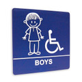 "8"" x 8"" Restroom Sign - ""BOYS"" w/ISA, (4) Standard Colors"