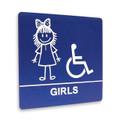 "8"" x 8"" Restroom Sign - ""GIRLS"" w/ISA, (4) Standard Colors"