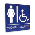 "8"" x 8"" Restroom Sign - ""WOMEN/MUJERES"" w/ISA, (4) Standard Colors"