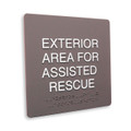 "8"" x 8"" Title 24 Braille - ""EXTERIOR AREA FOR ASSISTED RESCUE"""