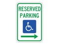 "18"" x 12"" - Federal R7-8 Reserved Parking, Right Arrow"
