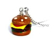 Handmade Cheeseburger Charm Necklace