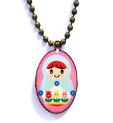 Antiqued Gold Russian Doll Necklace
