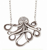 Antiqued Silver Octopus Necklace