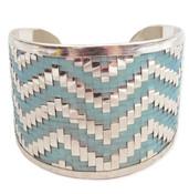 Turquoise Woven Chevron Cuff Bracelet