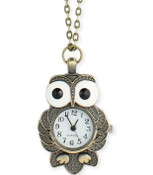 Wide Eyed Owl Watch Necklace