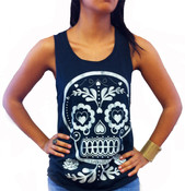 Sugar Skull Raw Edge Tank