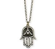 Gold & Crystal Hamsa Hand Necklace