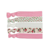 Set of Five Floral Knotted Hair Ties