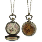 World Map Watch Necklace