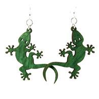 Green Tree Fish JESUS Renewable Natural Wood Earrings