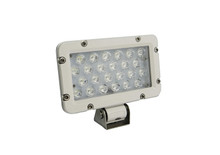 24 WATT RECTANGULAR LED LIGHT.  WHITE HOUSING, FLOOD BEAM. 2300 LM.
