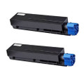 2 Black Laser Toner Cartridge For OKI B401 MB441 MB451 MB451W B401D B401DN