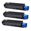 3 Black Laser Toner Cartridge For OKI B401 MB441 MB451 MB451W B401D B401DN