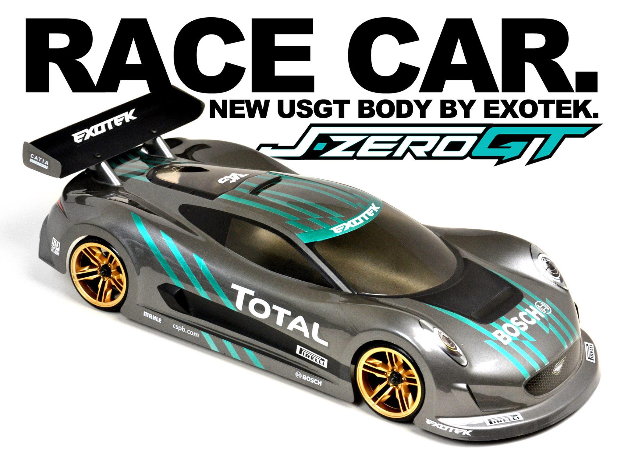 J-ZERO , 1/10 USGT RACE BODY, clear lexan w/ wing - Exotek