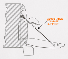 Adjustable Tailgate Cable Patent Image Open