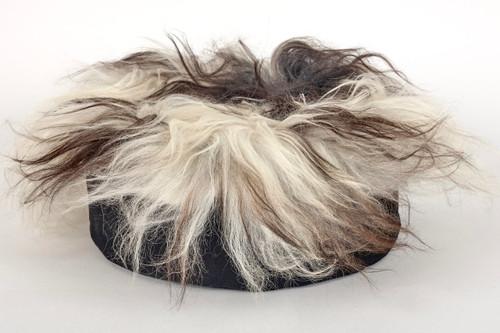Zafu Meditation Cushion - Eco Sheepskin - Black+White