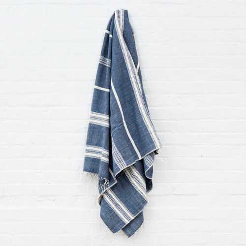 Aden Towel+Wrap - Navy with Natural -       Free Shipping!